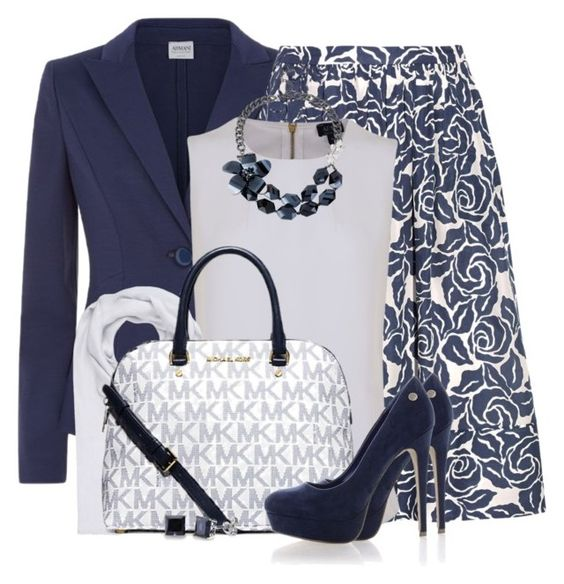 """""""Classic Navy Blue and White"""" by brendariley-1 ❤ liked on Polyvore featuring Armani Collezioni, Elizabeth and James, Armani Jeans, bleu, FTC, Michael Kors, Blink and BERRICLE"""