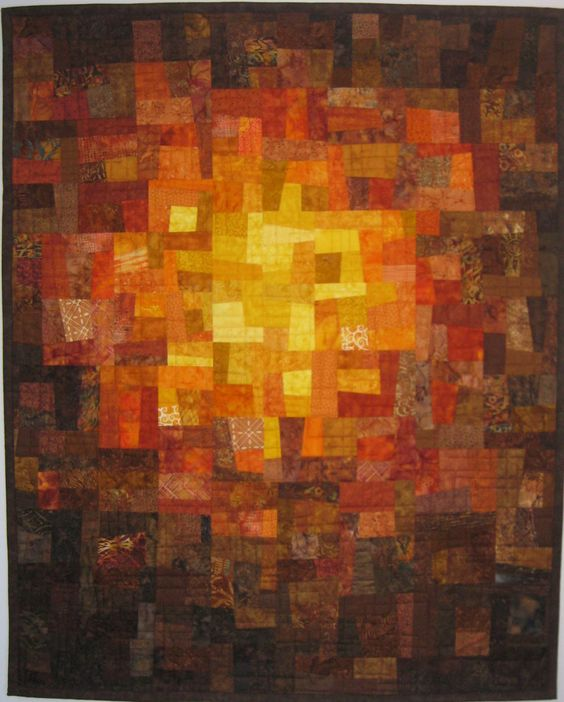 Art Quilt Brown Rust Gold Mosaic by ArtQuiltsBySharon on Etsy https://www.etsy.com/listing/227267461/art-quilt-brown-rust-gold-mosaic