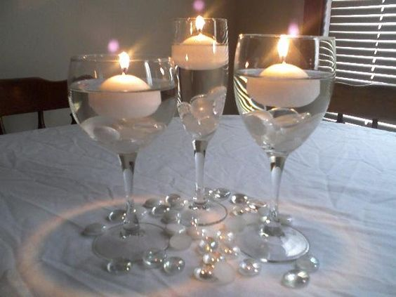 A start glass centerpieces and high top tables on pinterest