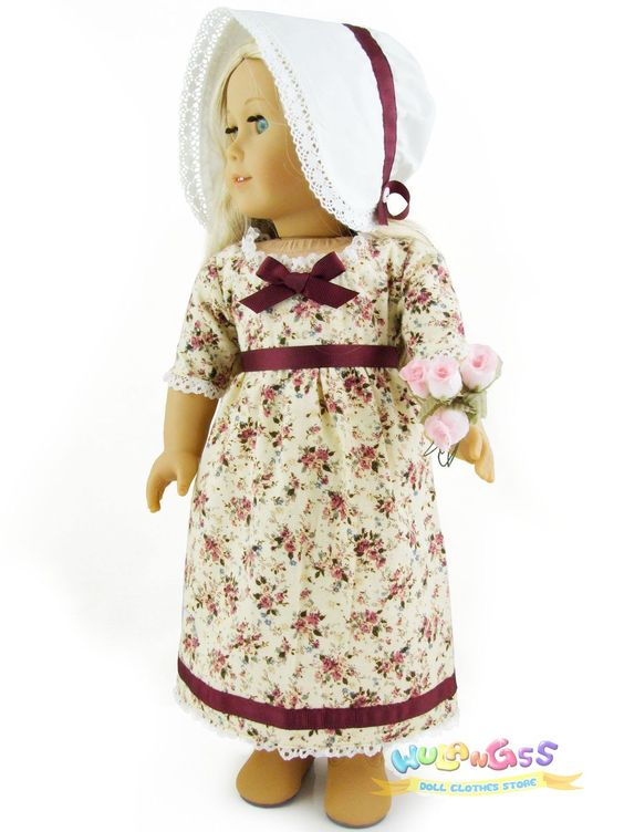 Doll Clothes Fits 18'' American Girl Handmade 1812 Wine Roses Dress Caroline | eBay