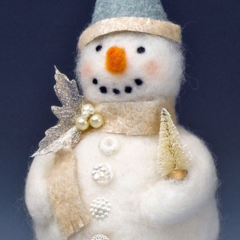 """This summer, I've had a """"Summertime Snowman"""" series #ontheblog. Last week, @rebekahmeier shared this cute and frosty, felted snowman with Crafts 'n Coffee readers. If you need a break from this too-hot weather, go take a look! #snowman #crafts #crafting #needlefelting #diy #chill"""