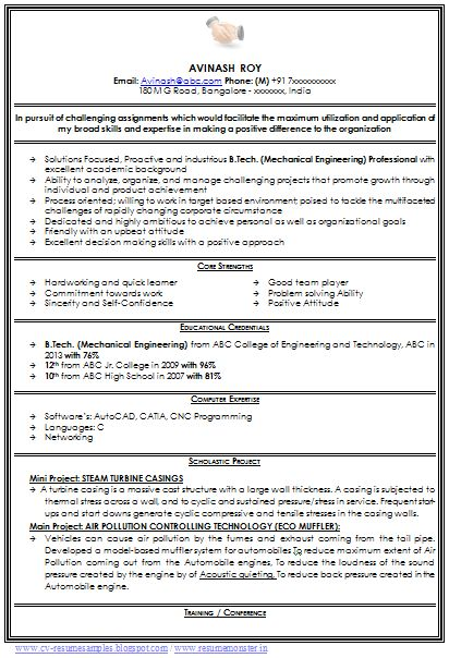 Resume Formats Mechanical Engineer Resume for Fresher Resume - mis resume