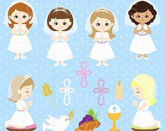 First Communion clipart, Communion Digital Clipart, Communion Clipart, Communion Clip Art, Communion Girl Clipart