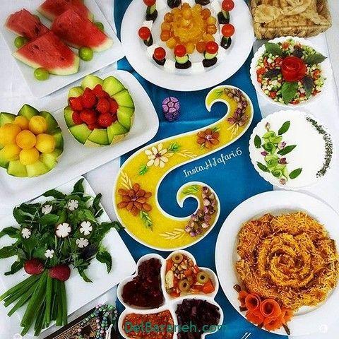 تزیین افطار ۱۰۰ مدل شیک ساده و مجلسی تزیین سفره افطاری Persian Food Iftar Yummy
