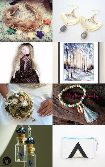 Stars,  dolls and butterfly.... by sylvie on Etsy--Pinned with TreasuryPin.com #gifts #handmade #treasury #shopsmallbiz #sales #love #uniquegifts #jewelry #bracelets #charmbracelets #stars #gemstones