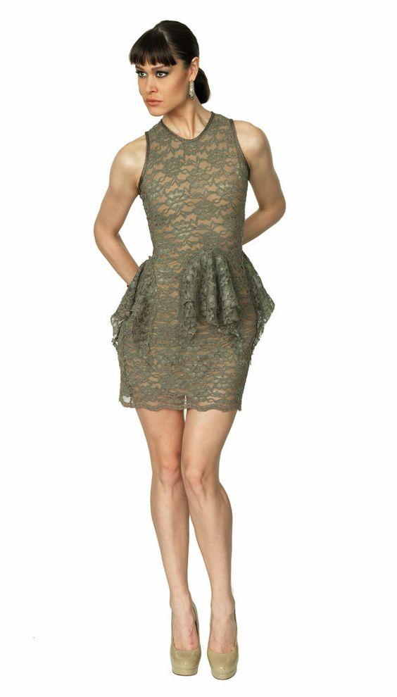 Sleeveless Lace Dress with Circular Ruffles by SandraBaquero, $375.00