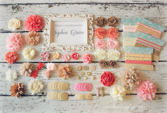 DIY Headband Making Kit Shabby Chic Burlap, Pink, Ivory, Coral - First Birthday Party - Baby Shower Headband Station - MAKES 25+ HEADBANDS!