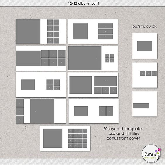 12x12 Album Set 1 - Layered Templates :: Templates :: Memory Scraps