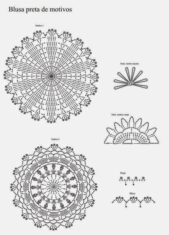 Blusa de Crochê Motivos Plus Size - Receita e gráfico ou padrão | Tricô + Crochê