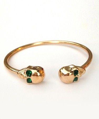 Emerald Skull Cuff