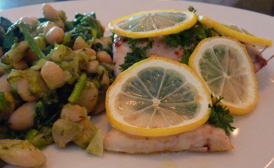 Lemon-covered kingklip with pesto beans