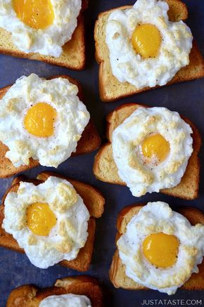 Cloud Eggs on Toast | Enjoy an updated take on baked eggs with this quick recipe for the lightest, fluffiest cloud eggs on buttery toast! @justataste