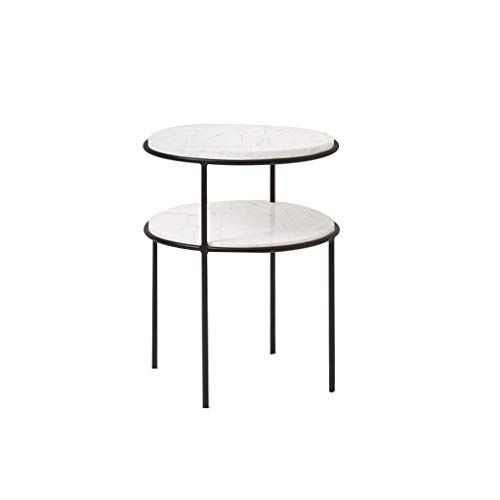 Zhfha 2 Tier Side Sofa Table Small Round Marble Furniture Couch End Table Living Room Bedside Coffee Table Metal Frame Coffee Table Bedside Tables Nightstands