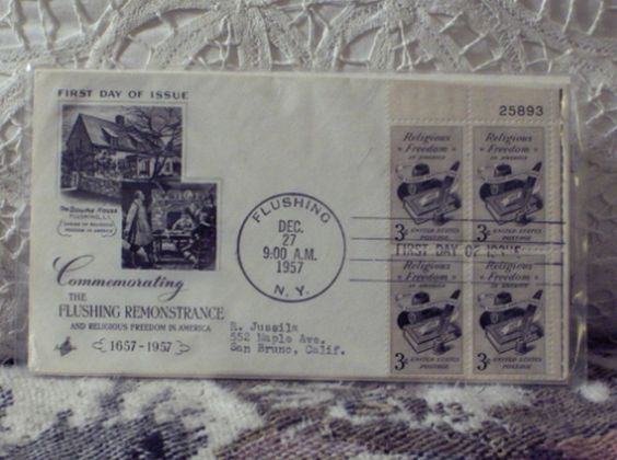 First Day Issue/Cover-Stamp-Flushing Remonstrance 1957