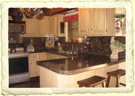 Painted countertops before and after granite for Painting kitchen countertops before and after