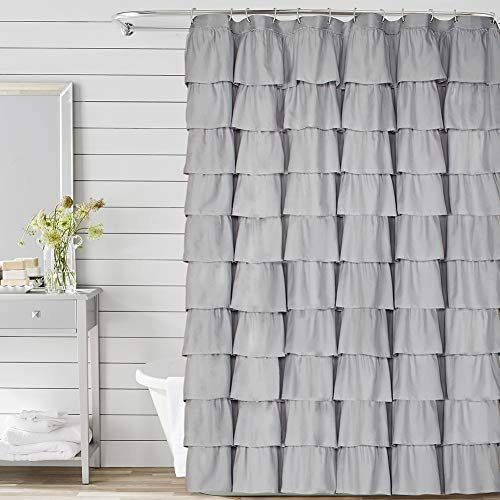 Volens Gray Grey Ruffle Shower Curtain Fabric Cloth Rustic Shower Curtains For Bathroom 72 In 2020 Rustic Shower Curtains Fabric Shower Curtains Ruffle Shower Curtains