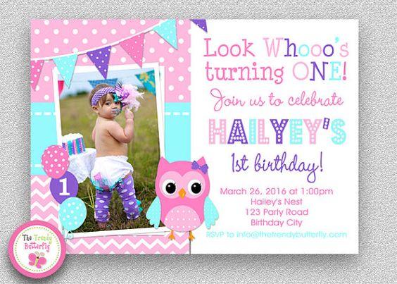 Girls Birthday Invitation Girls 1st por TheTrendyButterfly en Etsy