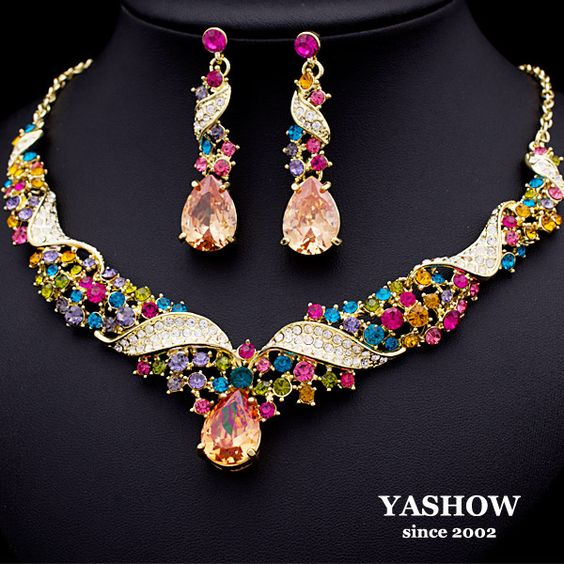 6794M Trendy 18k Yellow Gold Plated Multi Necklace  Earring Zircon Jewelry Sets Women Top Quality Free Shipping-in Jewelry Sets from Jewelry on Aliexpress.com $27.98