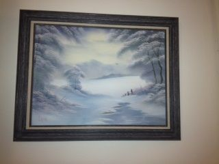 My original Bob Ross painting; he painted this in 1988 at a workshop in New London, CT; my aunt was a student painter in that workshop, and he gave this to her at the close of the workshop. She gave it to me in 2012.