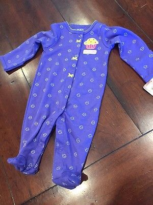 NEW Baby Girl Footed Sleeper Pajama Cupcakes Carter's Size NB Newborn 0-3 Months