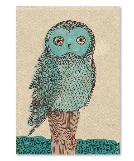 Love this Owl in Blue Monotone Wall Art by Paula Mills on #zulily! #zulilyfinds