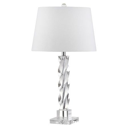 """Lend a touch of chic appeal to your living room or den with this lovely table lamp, showcasing a crystal base and white cotton shade. Construction Material: Crystal and cotton Color: Clear and white Accommodates: (1) 100 Watt bulb - not included Dimensions: 27.5"""" H x 15"""" Diameter"""