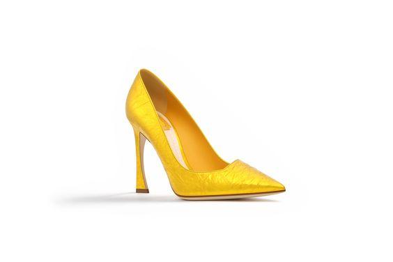 Crinkled gold lamé calfskin pump, 10 cm - Dior