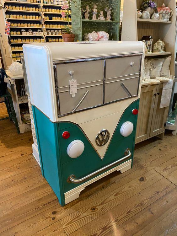 dresser painted to look like a teal VW van