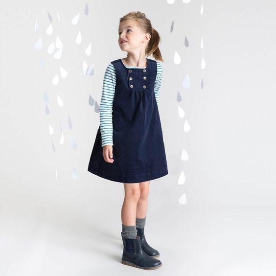 Miúdos novos vestidos de festa da princesa para As Crianças meninas do bebê outono inverno vest-estilo Navy vestido de Alta qualidade roupas de algodão