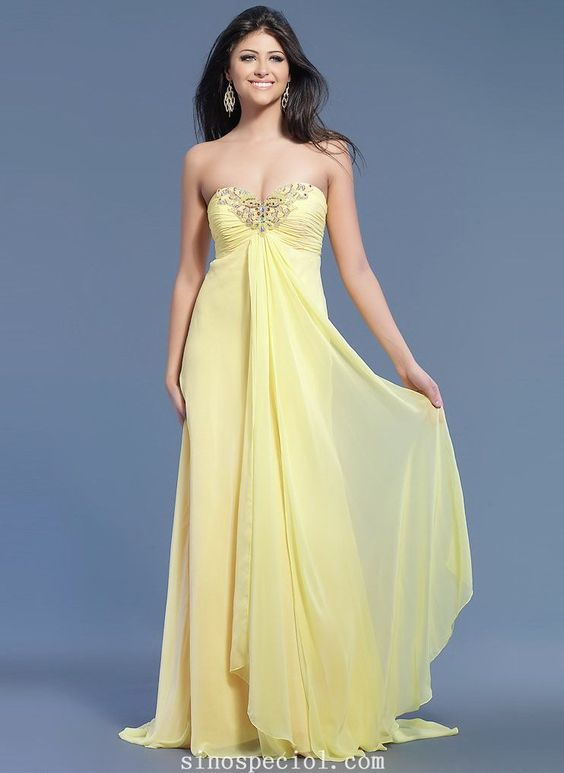 Elegant Daffodil A-line Empire Waist Floor Length Chiffon Prom Dress