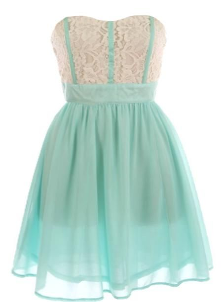 Mint Garnish Dress: Features an elegant strapless cut with flattering sweetheart neckline, floral crochet bodice chock full of intricate perforations, corset-style mint piping to the front, and a vibrant twirl-worthy mint skirt to finish.: