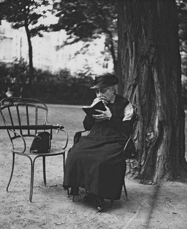 Les vieilles dames aiment lire sur les bancs publics en compagnie des oiseaux...
