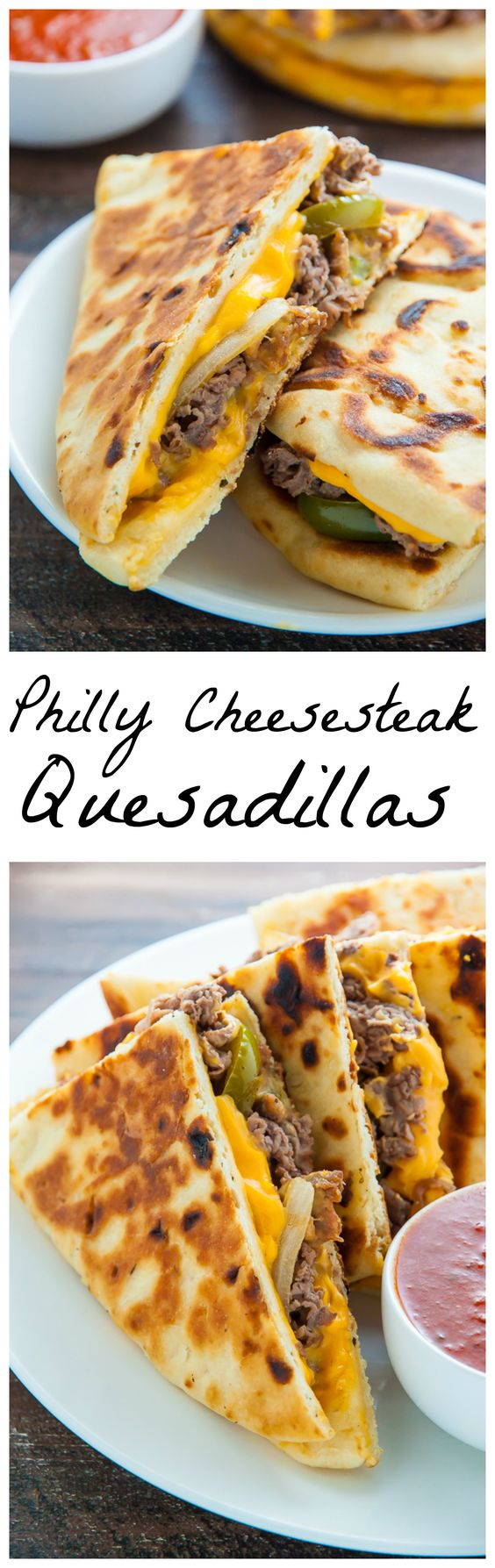 Philly Cheesesteak Quesadillas are loaded with meat, cheese, pepper, and onions! Serve with marinara sauce, ketchup, or sour cream.: