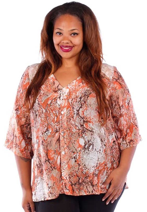 Yummy Plus 4X Orange Snake Print Blouse with Lace #YummyPlus #ButtonDownShirt #Casual