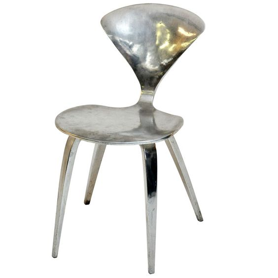norman cherner aluminum interpretation of his bentwood chair from a limited series 1970s cherner furniture