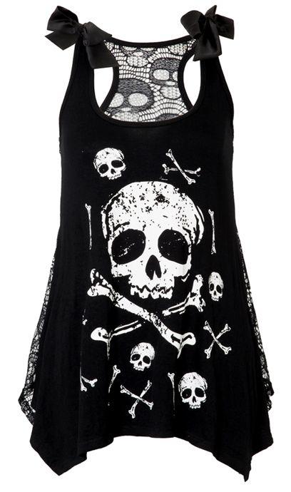 Jawbreaker Skull & Crossbones Lace Back Vest | Gothic Clothing | Emo clothing | Alternative clothing | Punk clothing - Chaotic Clothing