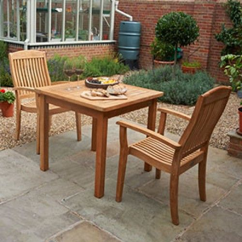Teak 80cm Club Square Dining Table With 2 Club Stacking Armchairs