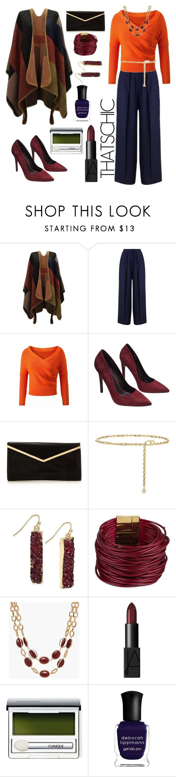 """""""Cozy"""" by whatbigeyes ❤ liked on Polyvore featuring Miss Selfridge, WithChic, Wet Seal, Tory Burch, INC International Concepts, SAACHI Style, Talbots, NARS Cosmetics, Clinique and Deborah Lippmann"""
