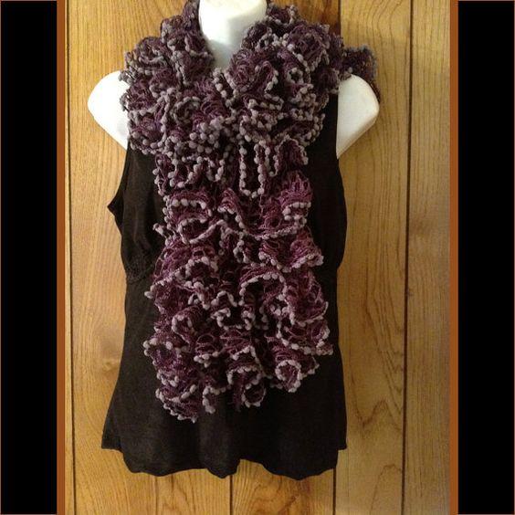 Extra Soft Ruffled Violet and Light Purple Fringe Knit Scarf
