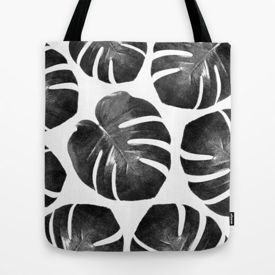 Tropical Monstera - black and white Tote Bag #totebag #totes #tote #beachbag #beachwear #beach accessory #summeraccessory #tropical #palmleaf #monstera #trend #trending #trendy  #botanicaltrend #monsteratrend #blackandwhite