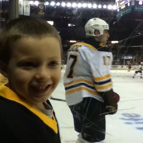 My son and his favorite Bruin, Milan Lucic