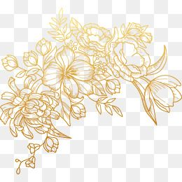 Vector Painted Golden Vector Flowers Free Watercolor Flowers Flower Png Images
