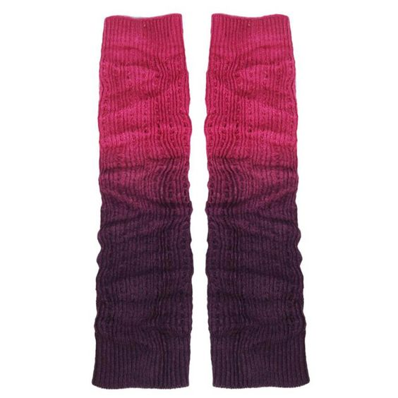"""RICCOS (TM) Women's Fashion Winter Stretchy Warm Knitted Long Leg Covers Leg Warmers with Gradient colouring (Purple). RICCOS is a Registered TradeMark. Material: 100 % Supersoft Acrylic Cashmere-like. Size: About 47cm/18.50"""". Colour: Purple. The necessary accessory for the winter season."""