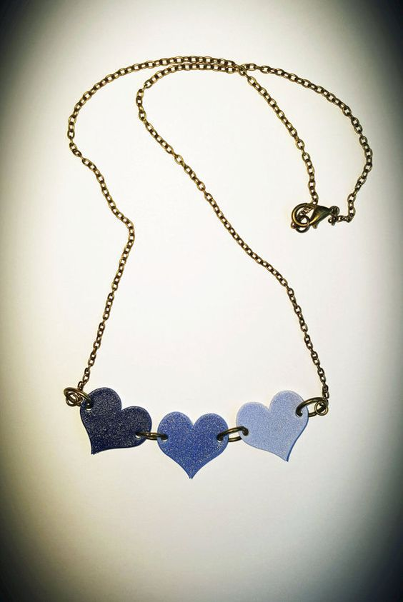 Three Blue Hearts Ombre Shrink Plastic Necklace
