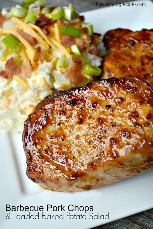 Barbecue pork chops, Loaded baked potato salad and Baked potato salads ...