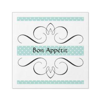 """""""Bon Appétit """" Iron Heart_Aqua Stripes IV Paper Dinner Napkin"""