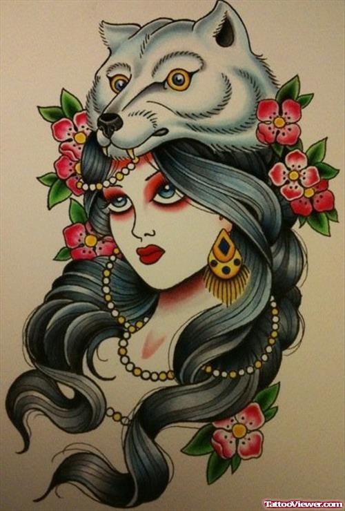Pin On Wolf Tattoo Flash Vintage
