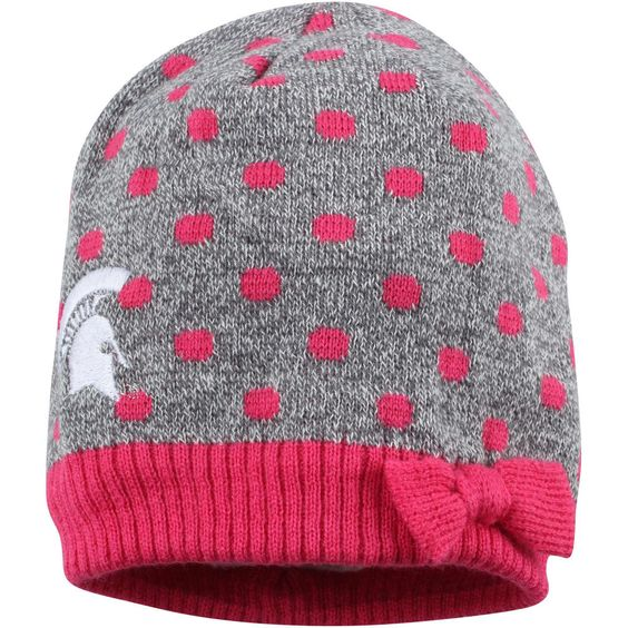 Girls Infant Michigan State Spartans Top of the World Gray/Pink Zulu Knit Hat