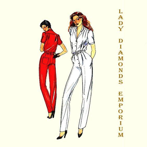 486 Butterick 6987 Womens Straight Leg Jumpsuit size 14 Bust 36 Waist 28 Hips 38 Vintage Sewing Pattern Uncut by ladydiamond46 on Etsy