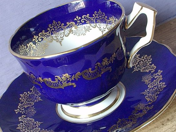 Antique 1950's Blue tea cup and saucer, Aynsley Mid Century tea cup, blue and…